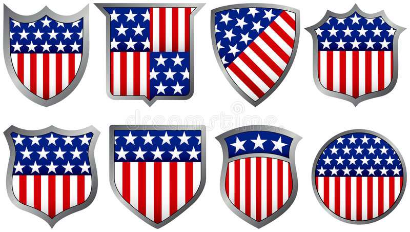 Eight Red White and Blue Shields royalty free illustration