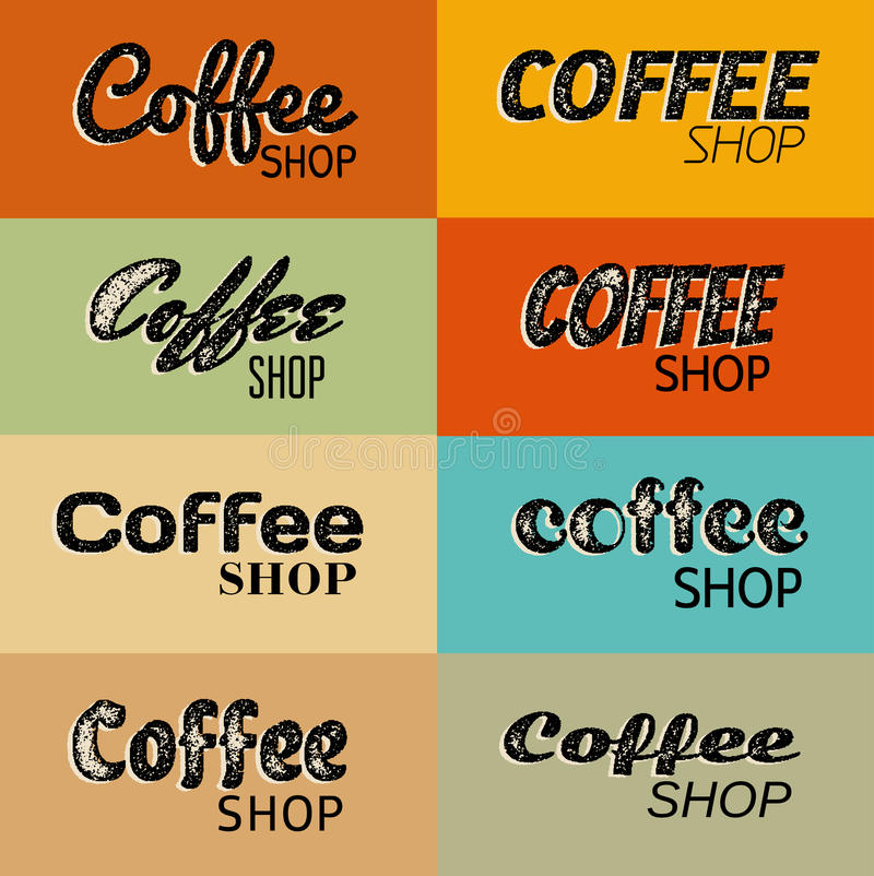 Eight retro grunge coffee shop symbols. Vintage style coffee shop text labels royalty free illustration