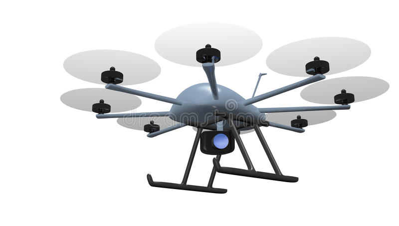 Eight rotor drone tracking. Eight rotor drone with camera tracking object
