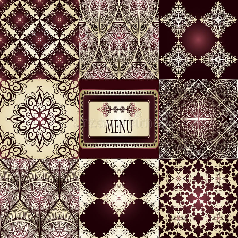 eight seamless patterns and frame royalty free illustration