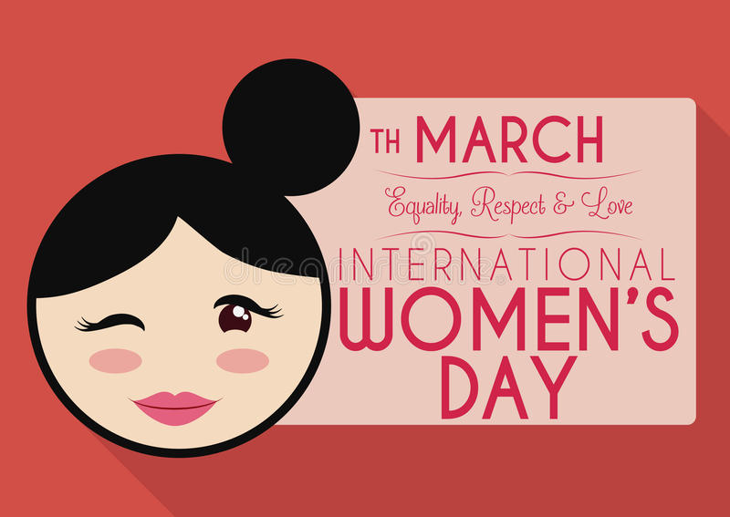 Eight Shaped like Woman Winking and Showing a Banner for Women's Day, Vector Illustration royalty free stock photo