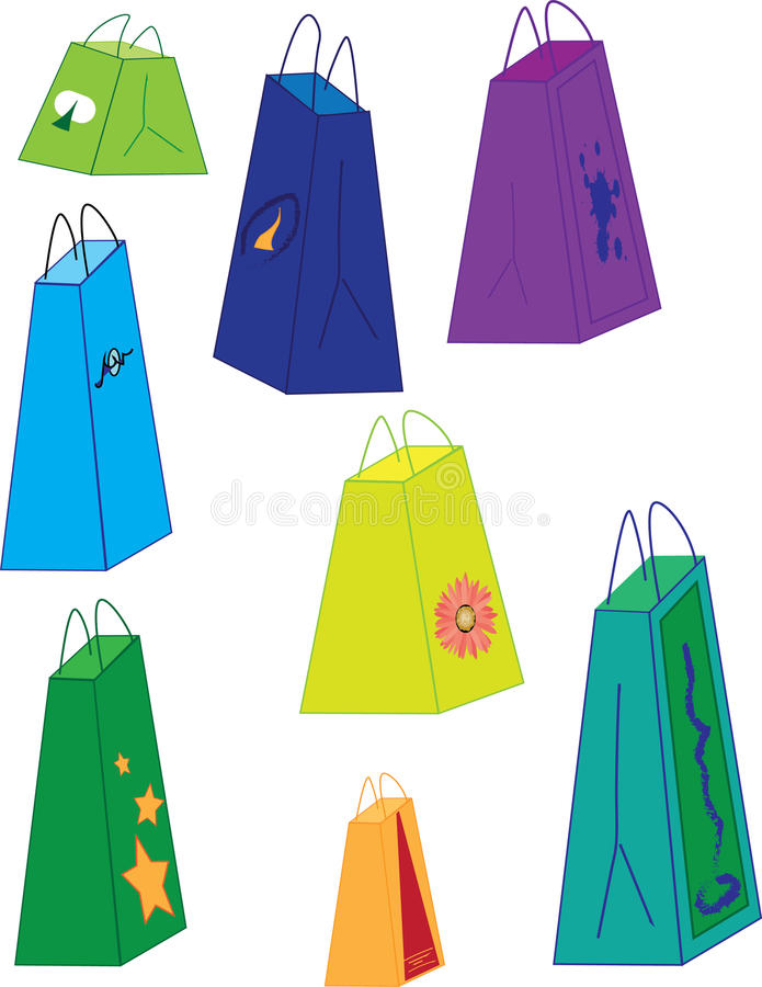 Eight shopping bags of varying sizes and colors royalty free stock image
