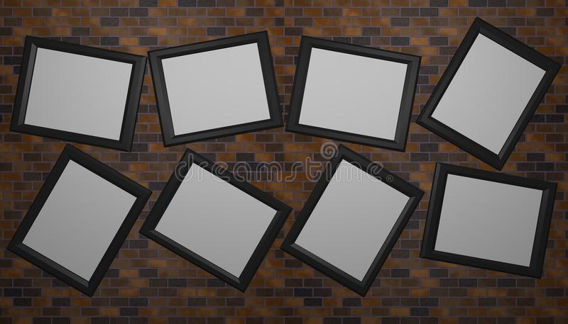 Eight skew empty picture frames