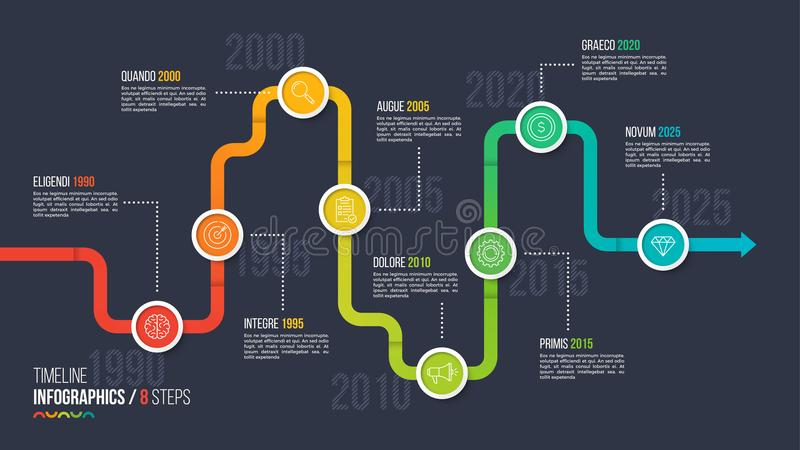 Eight steps timeline or milestone infographic chart. 8 options vector template for presentations, data visualization, layouts, annual reports, web design stock illustration