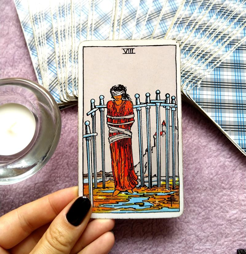 8 Eight of Swords Tarot Card Restrictions Entrapment Confinement Caught in a Bind Fenced In Restrictions Stagnation. 8 Eight of Swords Tarot Card is about royalty free illustration