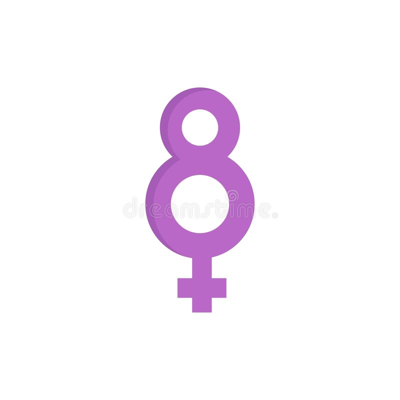 Eight, 8, Symbol, Female  Flat Color Icon. Vector icon banner Template royalty free illustration