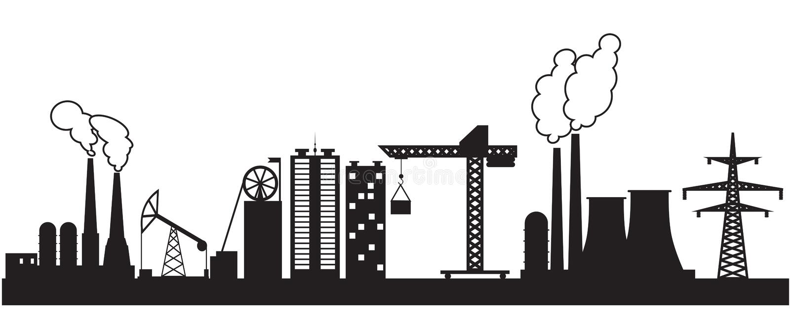 Eight urban and industrial buildings vector illustration