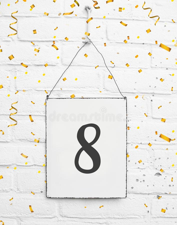 8 years old birthday party card with number eight with golden co royalty free stock images