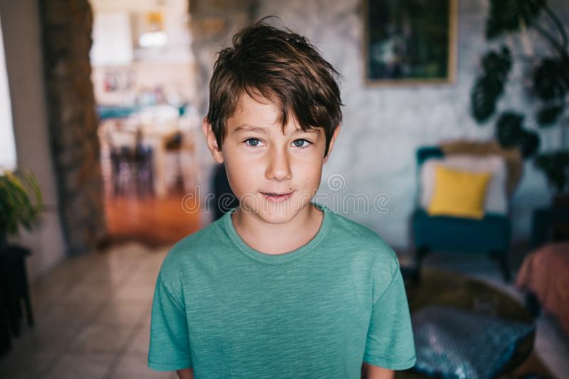 Eight years old boy stock images