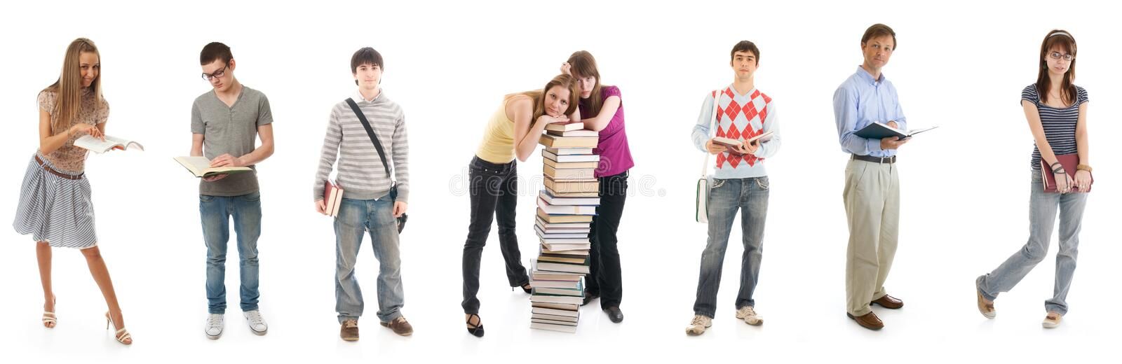 The eight young students isolated on a white royalty free stock image