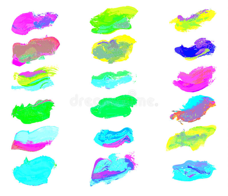 Eighteen colorful watercolor smear paint. Isolated on white background. Vector illustration EPS10 vector illustration