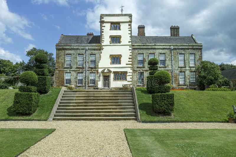 Eighteenth century garden. At Canons Ashby, near Daventry, England, a tudor mansion built in the reign of Elizabeth I (sixteenth century) using stone taken from stock photography