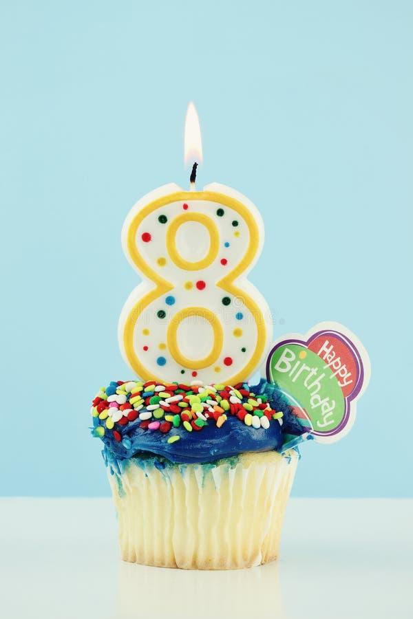 Download Eighth Birthday Cupcake stock photo. Image of baked, birthday - 19042734