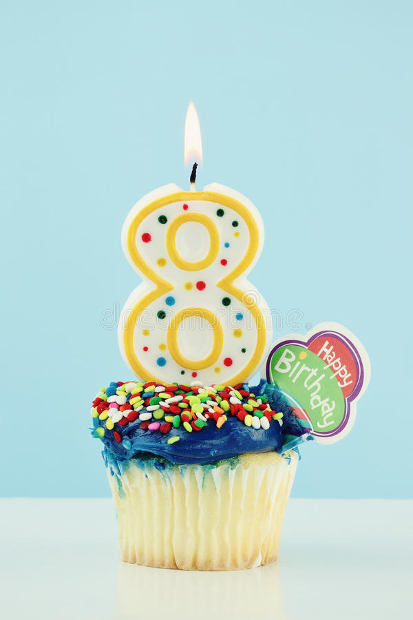Download Eighth Birthday Cupcake stock photo. Image of eight, copyspace - 19055882