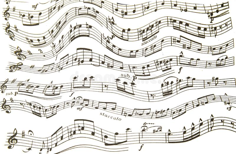 Treble and bass clef with melody notes on white background. Eighth sixteenth and a quarter of the violin bass keys on a wavy stave royalty free stock photos