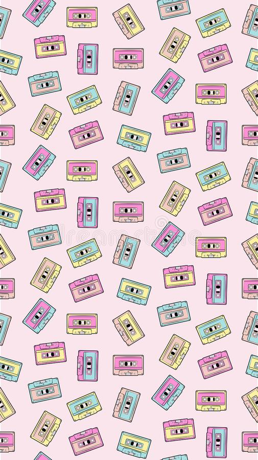 Casual eighties mixtape colorful seamless vector pattern repeat royalty free stock photos