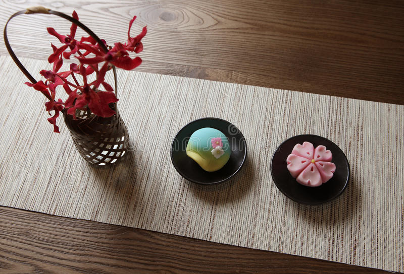 Eighty-Eightea RINBANSYO. Eighty-Eightea, RINBANSYO,the decoration of the dish just like an art piece, wagashi, Japanese sweets royalty free stock photo