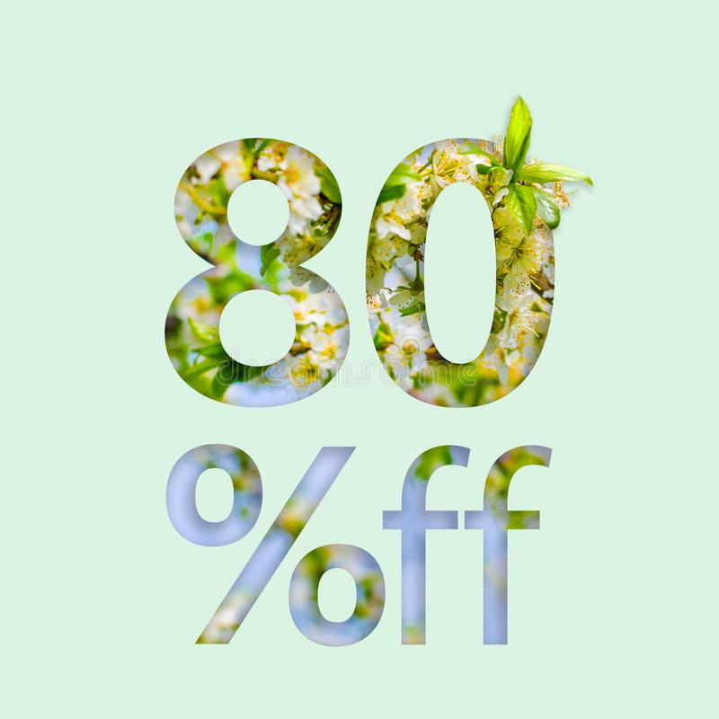 80% eighty percent off discount. The creative concept of spring sale, stylish poster, banner, promotion, ads. stock photos