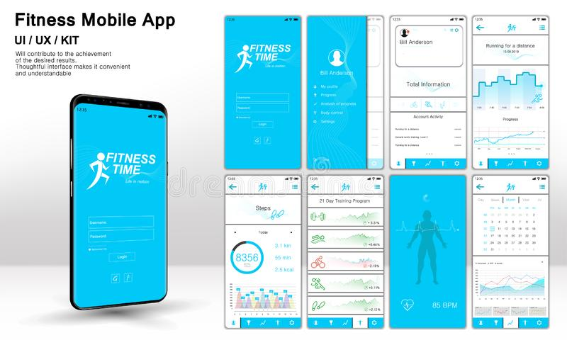 Eignung App-Schirme, bereite Anwendung UI, UX, AUSRÜSTUNG der Schablone lizenzfreie abbildung