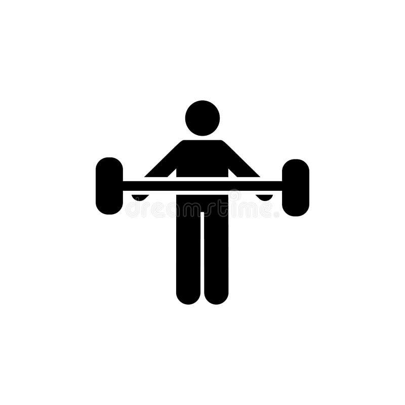Eignung, Gewicht, Turnhalle, Übung, Mannikone Element des Turnhallenpiktogramms Erstklassige Qualit?tsgrafikdesignikone Zeichen u stock abbildung