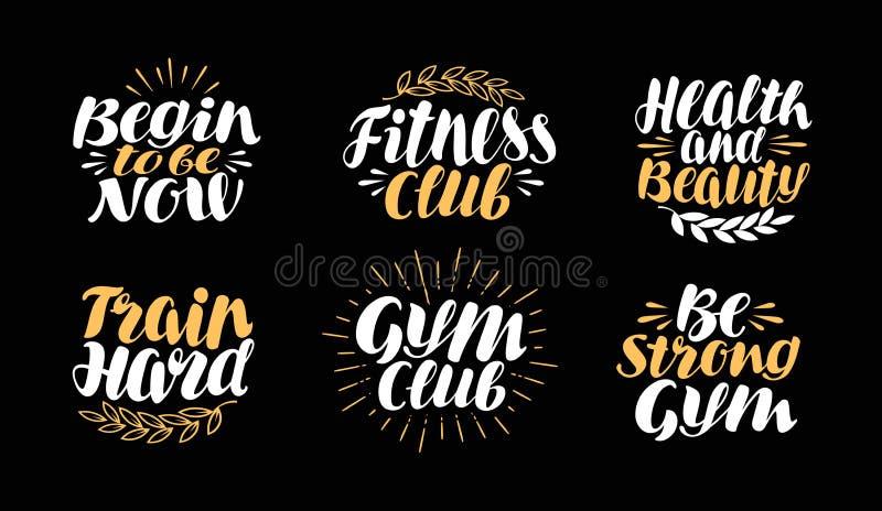 Eignung, Turnhalle, bodybuildender Aufkleber Sportsymbolsatz Beschriftung, Kalligraphievektorillustration vektor abbildung
