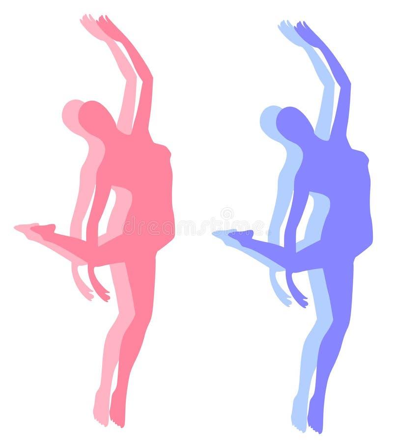 Eignung-Yoga-Tanz-Schattenbilder vektor abbildung