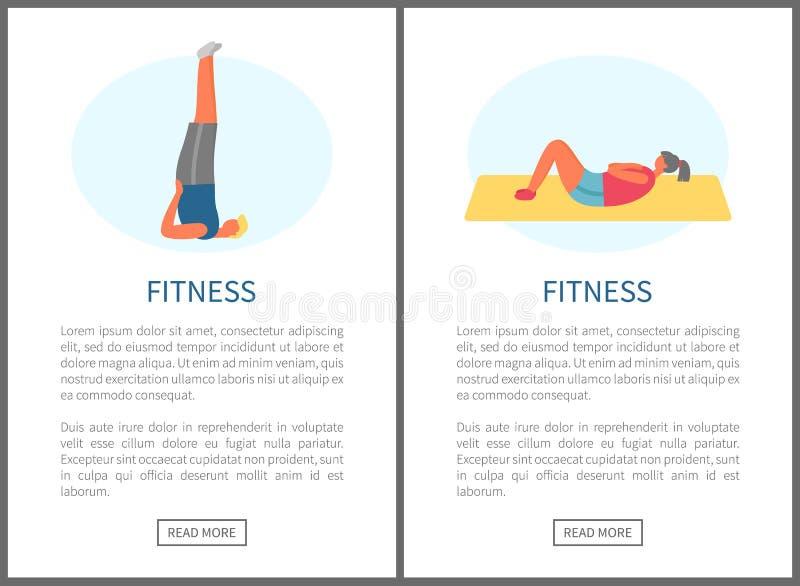 Eignungs-?bungen, Yoga und Turnhallen-Gymnastik-Satz lizenzfreie abbildung