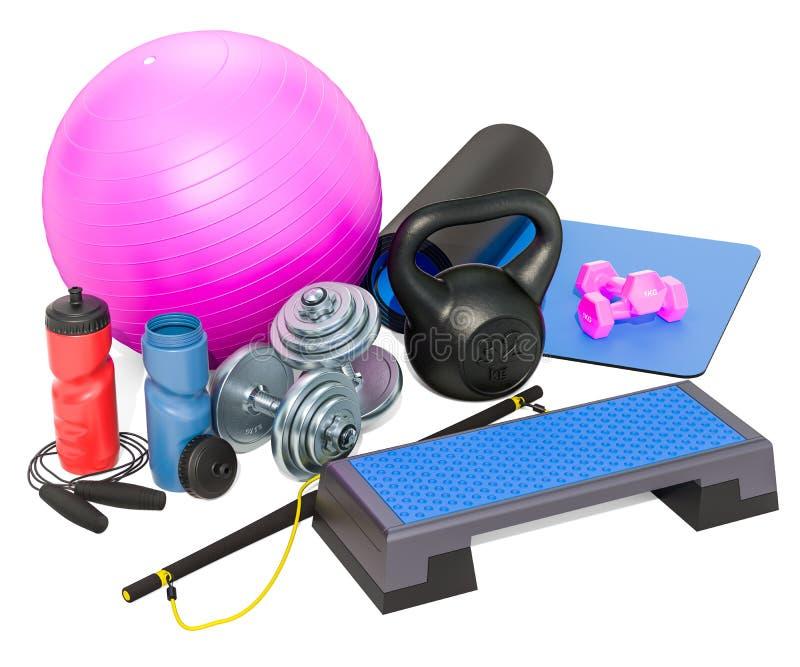 Eignungs-, aerobe und anderesportausrüstungen Wiedergabe 3d lizenzfreie abbildung