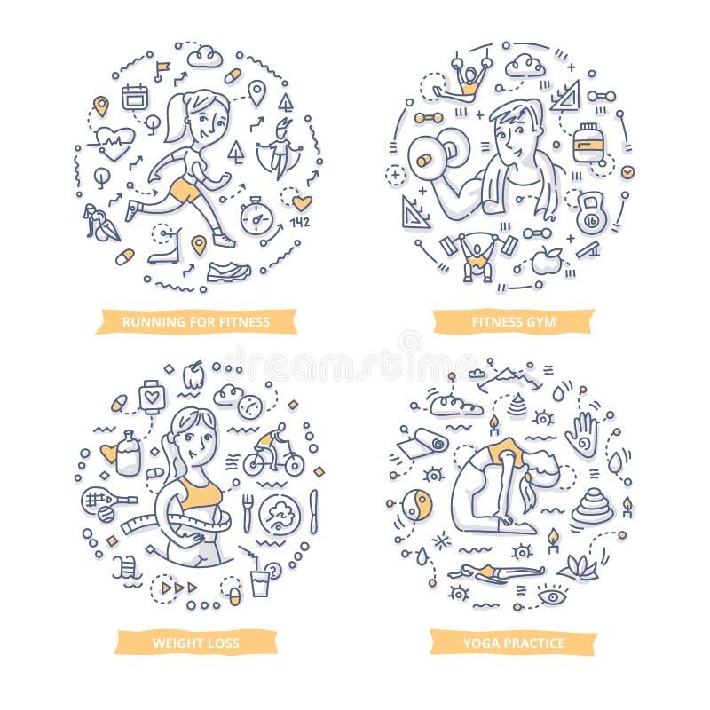 Eignungs-Gekritzel-Illustrationen lizenzfreie abbildung