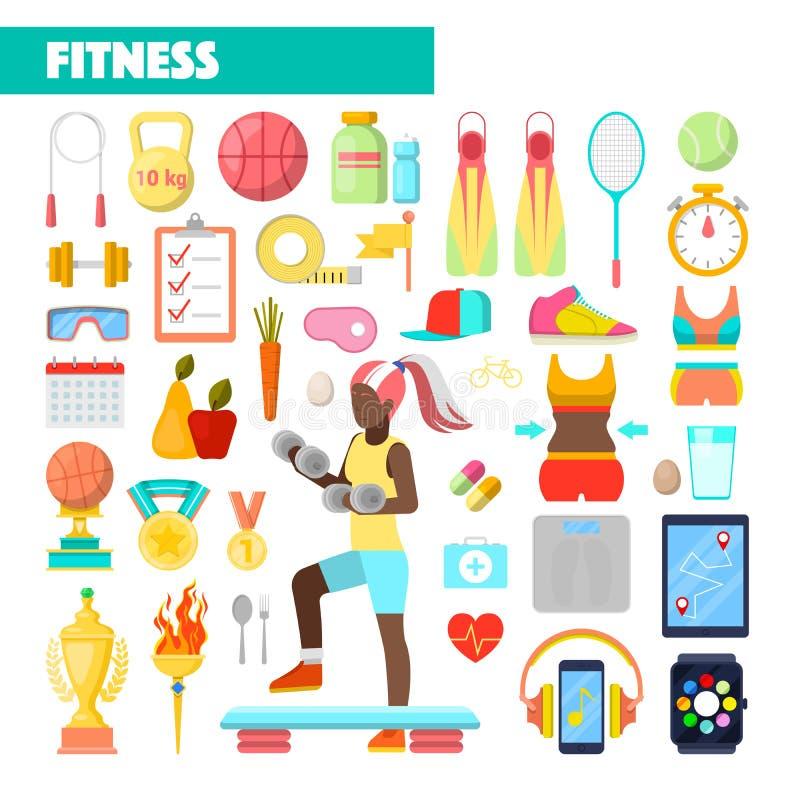 Eignungs-Trainer Healthy Lifestyle Icons mit dem Frauen-Trainieren lizenzfreie abbildung