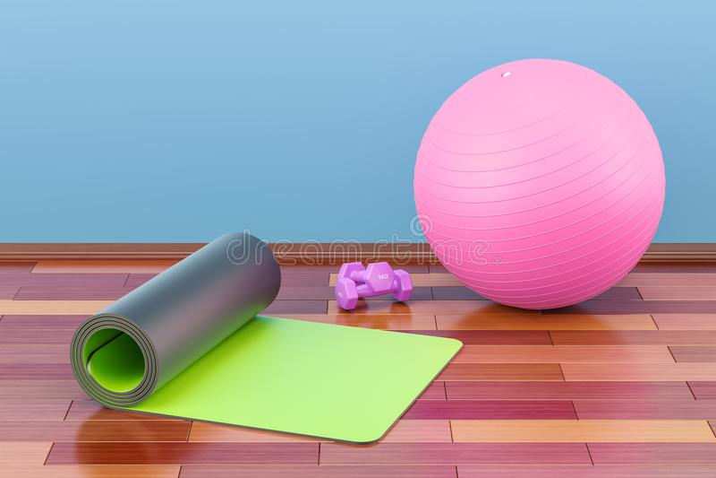 Eignungs- und Sportausrüstungskonzept Yogamatte, -Dummköpfe und -fI stock abbildung