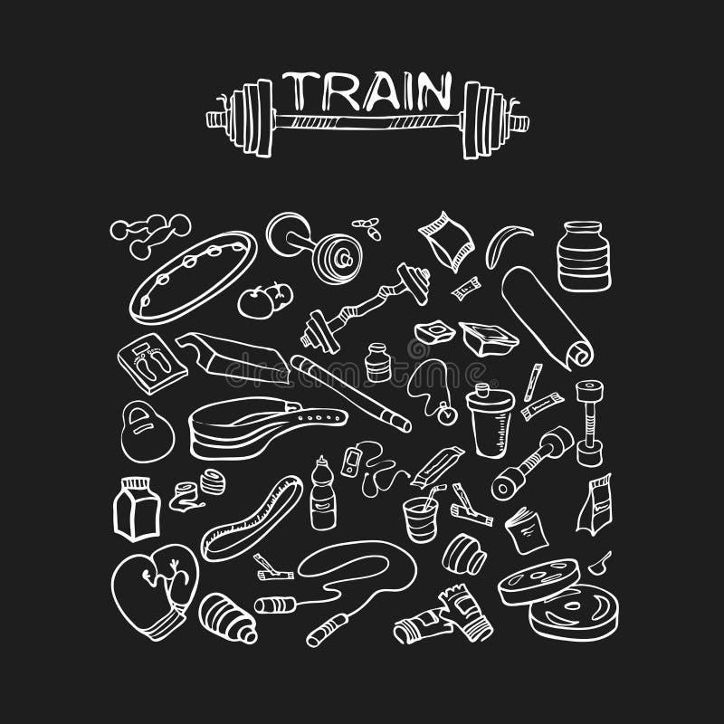 Eignungsausrüstung, Bodybuilding, Sport, gesunder Lebensstil stock abbildung