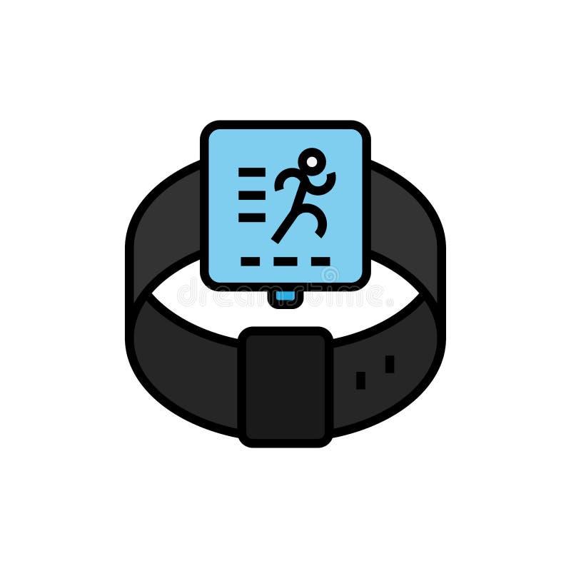 Eignungsbetrieb, der smartwatch Ikone aufspürt intelligente Uhr mit Laufsymbol einfache Grafik stock abbildung