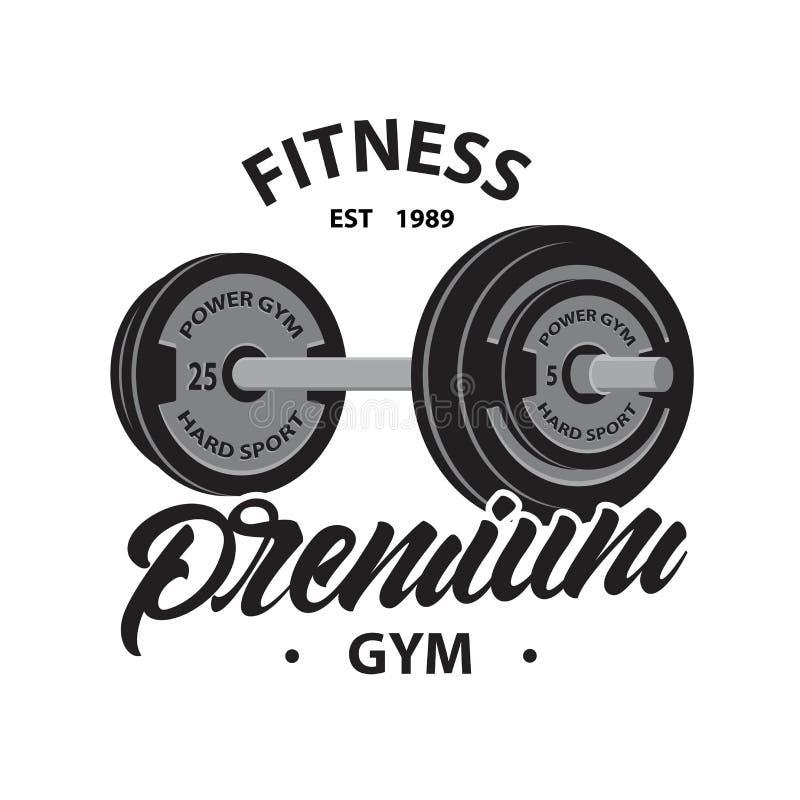 Eignungsemblem oder -logo mit Gewichtheben Barbell, wenn erstklassige Turnhalle der Art beschriftet wird Taube als Symbol der Lie stock abbildung