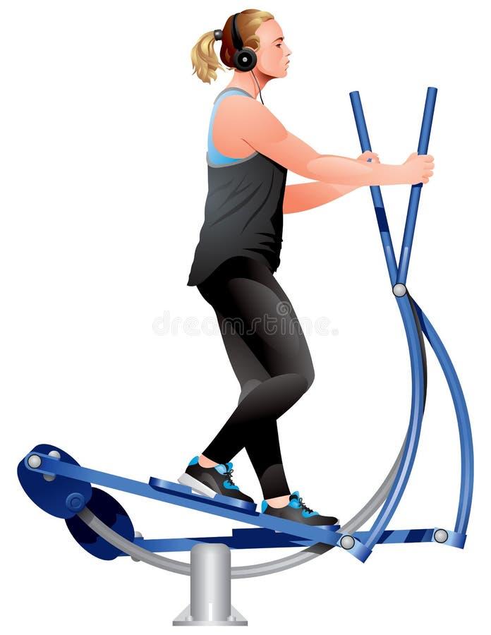 Eignungsmädchen, das Übungen auf elliptischer Cross-Trainers-Übungsmaschine tut lizenzfreies stockbild