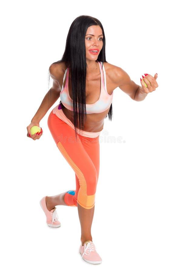 Eignungsmädchen führt gymnastische Übungen durch stockfotos