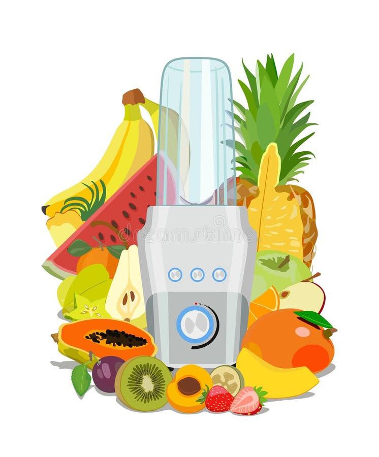 Eignungsmischmaschine und -frucht Gesundes Essen smoothies Auch im corel abgehobenen Betrag lizenzfreie abbildung