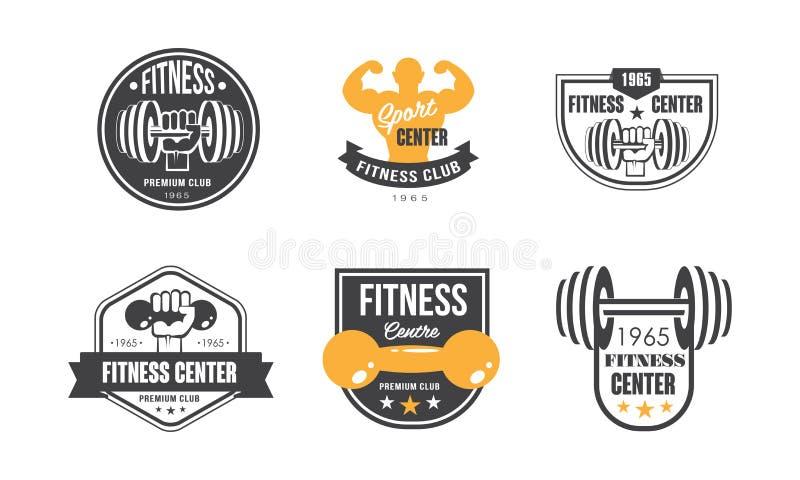 Eignungsmitte-Logoentwurfssatz, Retro- Emblem für Sportverein oder Turnhallenvektor Illustration auf einem weißen Hintergrund lizenzfreie abbildung