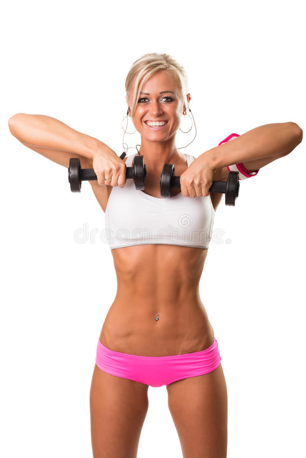 Eignungssport-Frauenlächeln glücklich mit Dummkopf lizenzfreie stockbilder