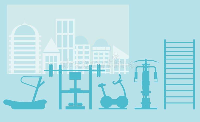 Eignungsturnhallen-Innenschablone mit Sportausrüstungen und Herz Ausrüstung, Hometrainer, Tretmühlen, elliptisch lizenzfreie abbildung