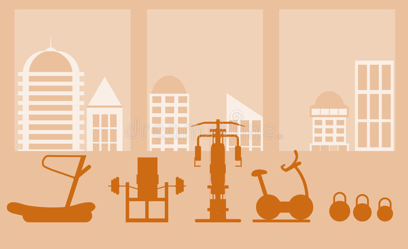 Eignungsturnhallen-Innenschablone mit Sportausrüstungen und Herz Ausrüstung, Hometrainer, Tretmühlen, elliptisch vektor abbildung