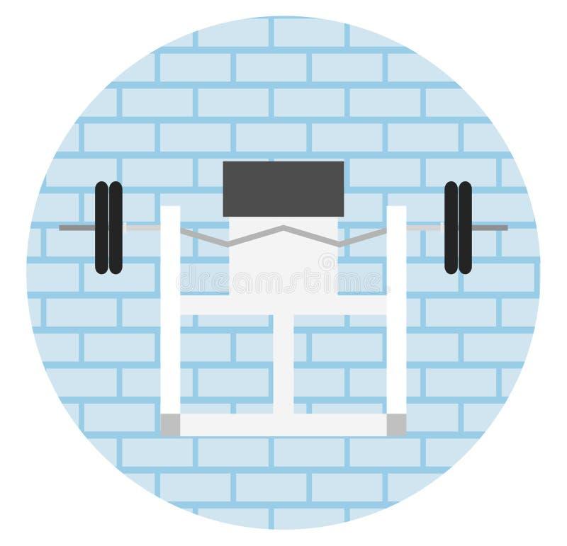 Eignungsturnhallen-Innenschablone mit Sportausrüstungen und Herz Ausrüstung, Hometrainer, Tretmühlen, elliptisch stock abbildung