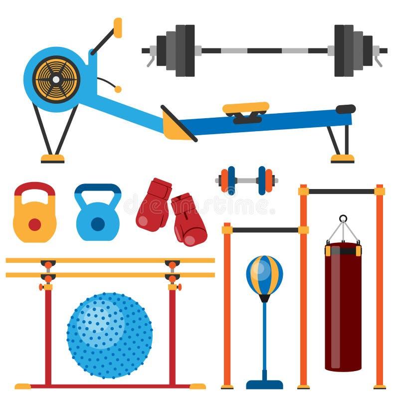 Eignungsturnhallenclub athlet Sport-Tätigkeitskörper bearbeitet Wellnessdummkopfausrüstungs-Vektorillustration lizenzfreie abbildung
