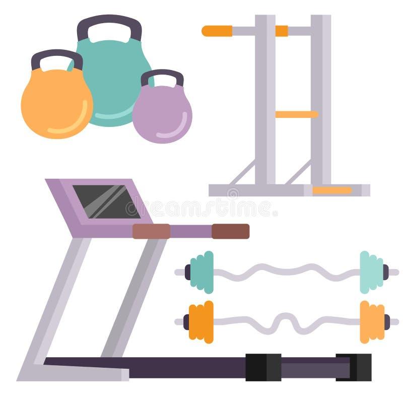 Eignungsturnhallenclubvektor-Ikonen athlet und Sporttätigkeitskörper bearbeitet Wellnessdummkopfausrüstung stock abbildung