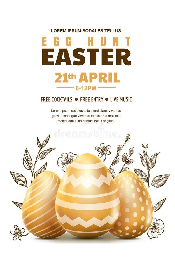 Eijagd Ostern-Plakat oder Fahnenschablone Auch im corel abgehobenen Betrag realistische Eier des Gold 3d und Skizzenhandgezogene  lizenzfreie abbildung