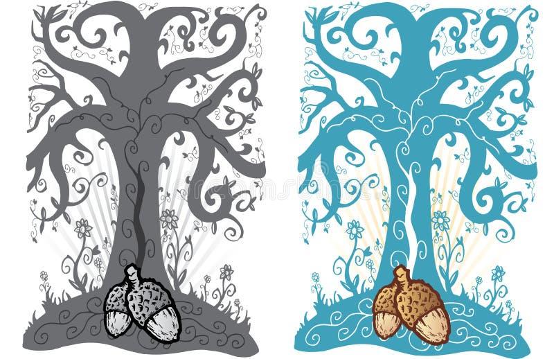 Eikel en boom van de stijlillustratie van de het levenstatoegering vector illustratie