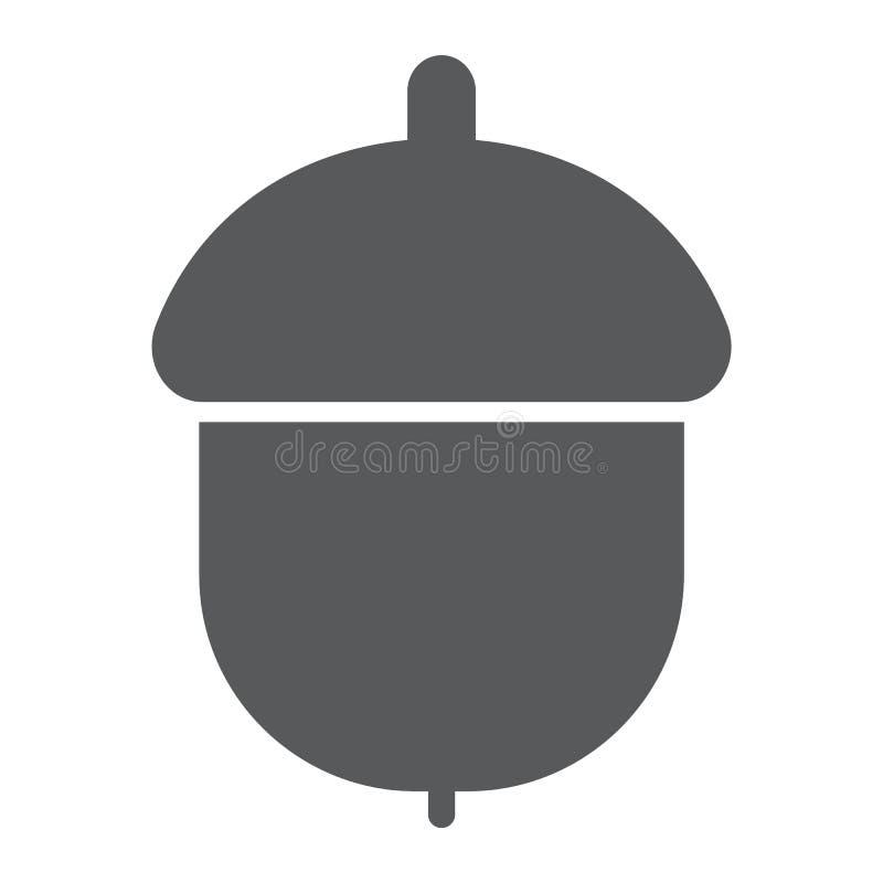 Eikel glyph pictogram, fruit en vitamine, nootteken stock illustratie