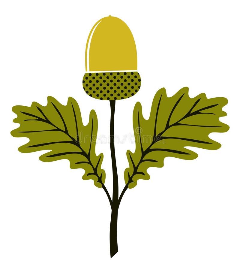 Eikel met bladeren vector illustratie