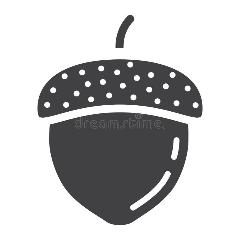 Eikel stevig pictogram, noot en voedsel, vectorgrafiek vector illustratie