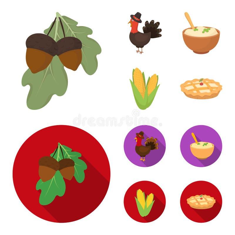 Eikels, graan arthene maak, pictogrammen van de thanksgiving day de vastgestelde inzameling van feestelijk Turkije, Canada in bee royalty-vrije illustratie